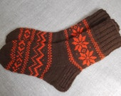 Hand knitted Brown wool socks with red signs EU 38-39