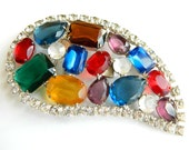 Rhinestone Belt Buckle Multicolor Bling Accessory Vintage Jewelry Possible Juliana D & E Bling Buckle