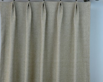 Pair of Pinch Pleat Top Curtains in Solid Natural Beige Taupe Denton Fabric