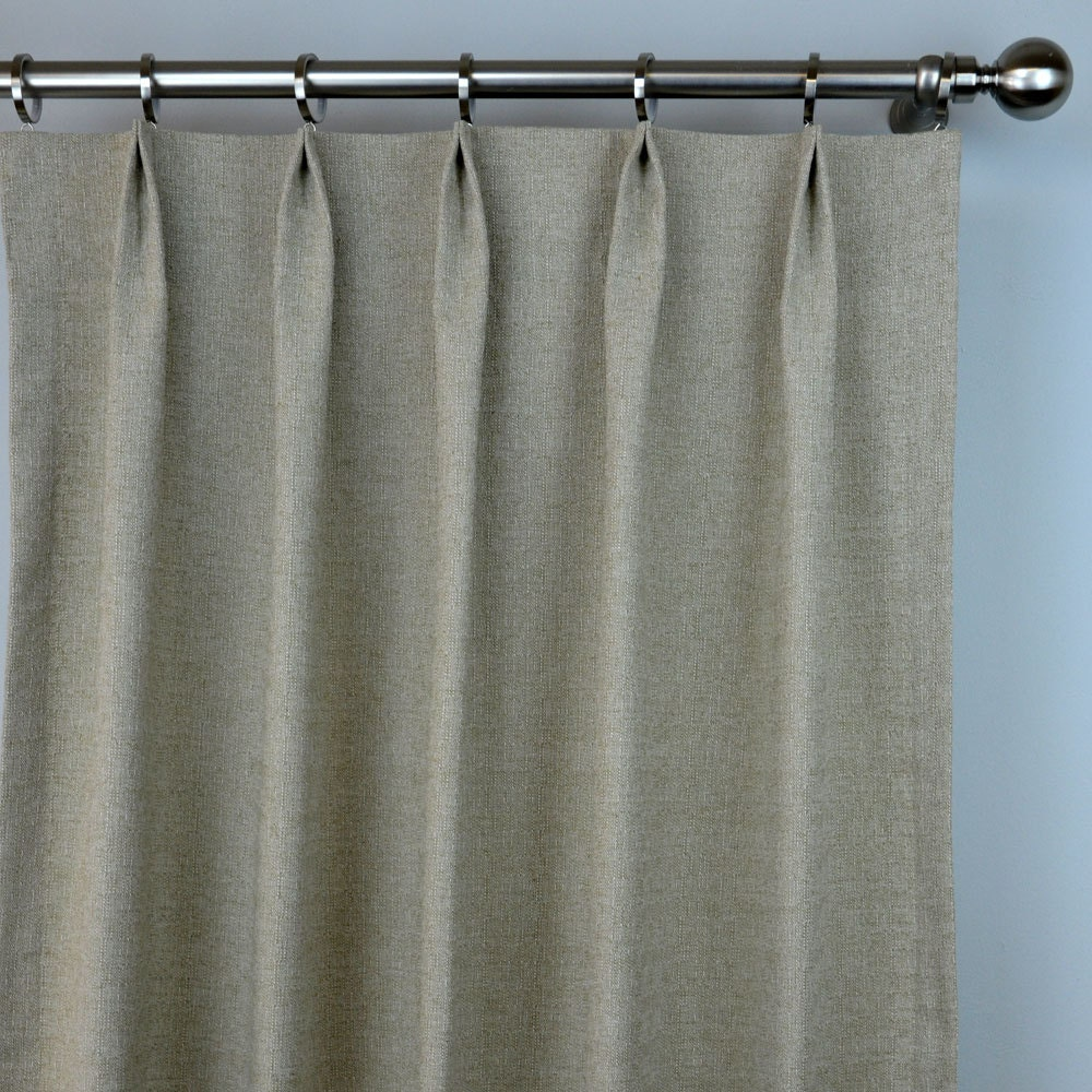 Pair Of Pinch Pleat Top Curtains In Solid Natural Beige Taupe