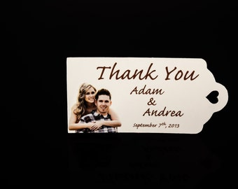Wedding Favor Tags - Color Photo Personalized (50) Personalized Thank You Tags, Perfect for Weddings or Party Favors