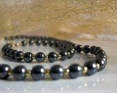 Vintage Hematite Set 90s Hematite jewellery set of 2 pcs Set  Necklace Bracelet Black hematite stone, Gold beads