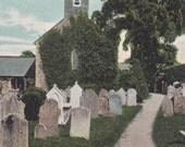 RINGMORE CHURCH, ENGLAND - Vintage Postcard, Cemetery, Graves, Gravestones, Halloween, Unused, c. 1910s, Valentines Series