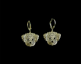 Maltese (in puppy/pet haircut) earrings - Gold