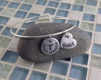 Hand stamped medical medic alert charm expandable bangle bracelet