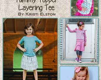 Tummy-Topper Layering Tee sizes 18m, 2/3, 4/5, 6/7, 8/9 compatible with CharlieMackADoodle Dress