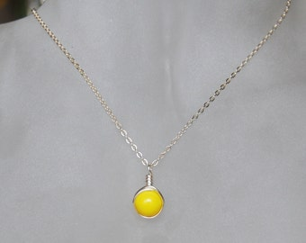 Simple Yellow Necklace , Bridesmaid Necklace , Yellow Silver Necklace , Czech Glass Necklace
