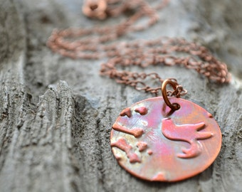 Round Copper Necklace with Bird, Patinaed Copper Pendant Necklace, Embossed Metal Jewelry, Reclaimed Copper Jewelry, Bird and Branch