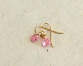 Small Pink Teardrop Earri...