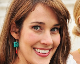 Turquoise And Orange Earrings - Dangle Earrings - Statement Earrings - Gift for Her