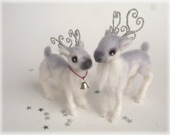 Wedding Cake Topper Reindeer Christmas Wedding White Silver Grey Needle Felted Winter Weddings Toppers
