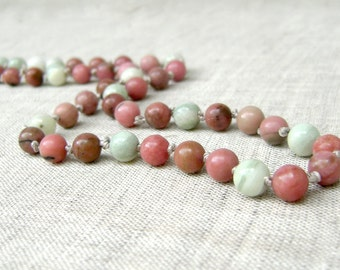 Rhodonite & Jade Necklace - Beaded Necklace - Colorful Beads -