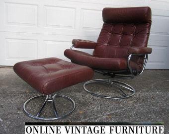 Ekornes (Norway) Lounge Chair  vintage mid century midcentury mid-century modern recliner ottoman chrome leather Danish eames arm retro scan