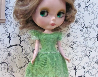 Lovely Lettuce Green with Lace - a Sweet Dress hand knitted for your BlytheStar