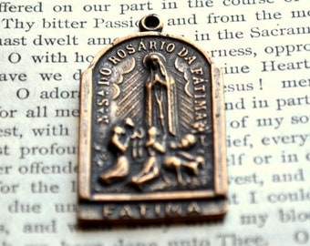 "Our Lady of Fatima and St Christopher MEDAL - 1 1/2""- Bronze or Sterling Silver - Vintage Replica Medal (M124-1239)"