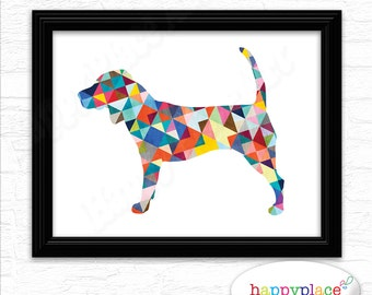 Beagle Print - Colorful Dog Breed Poster as digital file. Dog Lover Gift - Beagle Owner Gift 8x10in Digital File - Many Breeds available.
