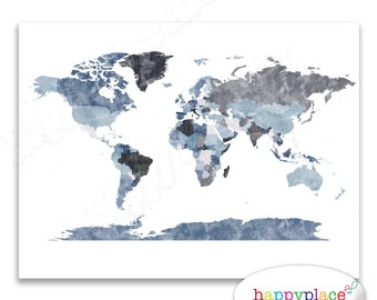 Grey text etsy large grey world map wall art poster with lovely printed texture printable digital watercolour map personalised text avail on request gumiabroncs Image collections