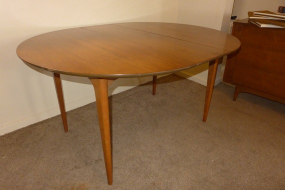 Round Oval Walnut Dining Table by Kroehler with 2 by