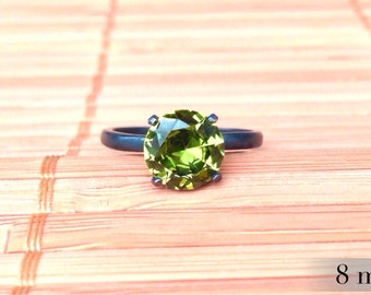 Peridot Ring in Oxidized Sterling, Bridesmaids Gifts, Silver Ring, August Birthstone Ring, Engagment Ring