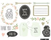 Mint green mason jar clipart, floral digital wedding clip ...