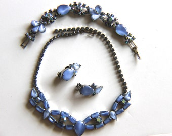 Vintage Blue Moonstone Demi Parure, Rhinestone Necklace, Bracelet, Earrings, Costume Jewelry, Mid Century