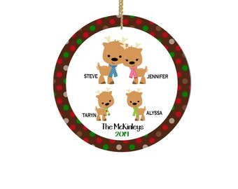 Personalized Christmas Ornaments with Reindeer Family of 4