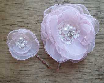 Fairytale Pink Organza Flower Bobby Pins Set Of 2 Flower Girl Hair Accessories