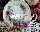 Royal Albert August Flower of the Month Teacup Duo - Bright Colorful Flowers