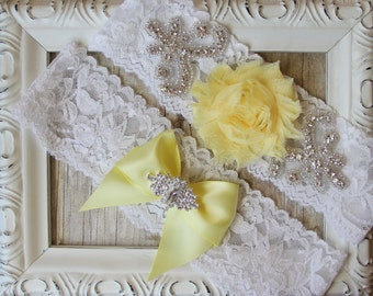 Customizable Wedding Garter Set, Bridal Garter Set, Yellow Garter, Soft Stretch Lace Garter, Crystal Garter ~ Bridal Garter