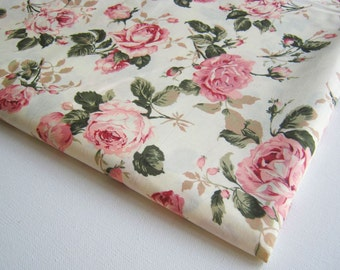 Vintage Rose Cotton Fabric White fabric Pink Rose in the Garden wedding, Spring, pink flower bunch, Curtain, dress fabric, gift wrap, CT146