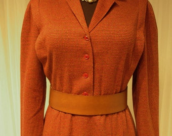 "Vintage 70's Rust Colored Career/Work Wear by Kay Windsor Synthetic Tweed Knit Dress 38"" Bust"