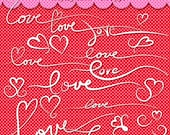 Valentine Clipart, Love Words, Hearts, Swashes, Valentine Card Words, Swashes, Decorative Font, Heart Graphics, Heart Clipart