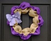 Burlap Wreath - Home Decor - Spring - Purple, Lavender and Natural Burlap - Home Sweet Home - UW Huskies