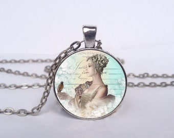 Vintage Beauty Necklace, Victorian Jewelry, Vintage Victorian Art Pendant, Bird Charm