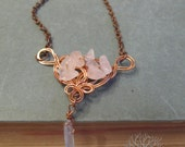 Tree of Life Rose Quartz and Kyanite Gemstone Copper Wire Wrapped Pendant Elven Fantasy Jewelry