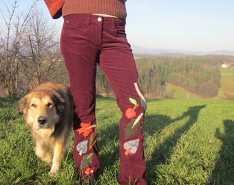 autumn leaves red pants, patchwork, mother nature costume