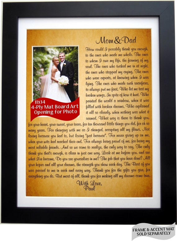 Thank You Wedding Gifts For Mum : Parent Wedding Gift: Personalized Thank You Gift for Mom Dad Parents ...
