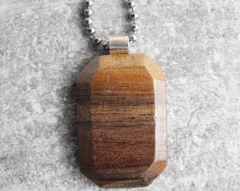 Wooden Gemstone Black Walnut Pendant with .999 Fine Silver Bail - Necklace with Chain - Beautiful Wood Grain