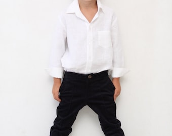 Boys linen shirt Mandarin collar shirt Toddler boy by mimiikids
