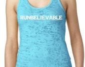 Runbelievable Burnout Running Tank