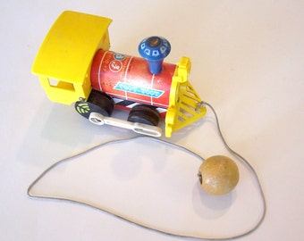Fisher Price Vintage Toot Toot Train Pull Toy - Vintage Train, Vintage Toy, Child's Toy Train, Pull Train