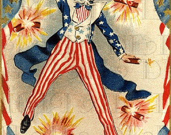 My FAV Uncle Sam 4th of July Vintage Illustration! Fourth of July Vintage Postcard Digital Download. Digital US Patriotic Print.