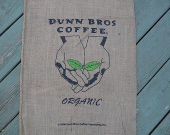 Burlap Coffee Bag Outstreched Hands, Organic Dunn Bros Gunny Sack Coffee Advertising, Home Decor Diy