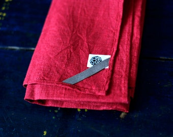 Kitchen Towel  - Red Linen Tea Towels Collection