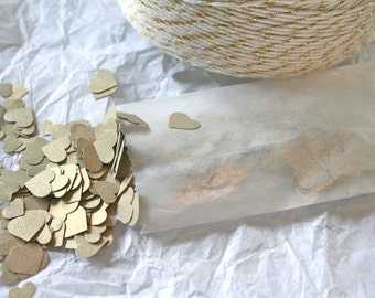 Wedding Confetti, Metallic Gold TEENY Hearts Paper Confetti