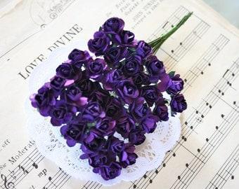 24 Handmade Paper Roses, Midnight Purple paper flowers