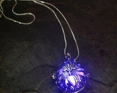 Steampunk Silver Teardrop Glow In The Dark Pendant With Your Choice Colour LED or Glow Orb