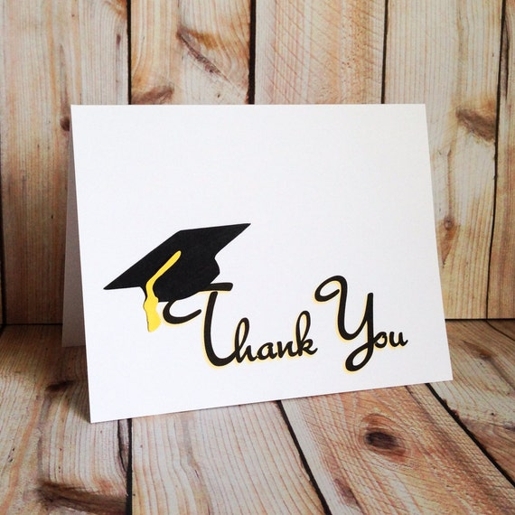 items similar to graduation thank you note card set