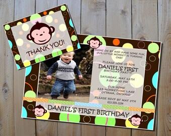 Mod Monkey Birthday Invitation & FREE Thank You Card - Boy's Mod Monkey Printable Party Invitation Set