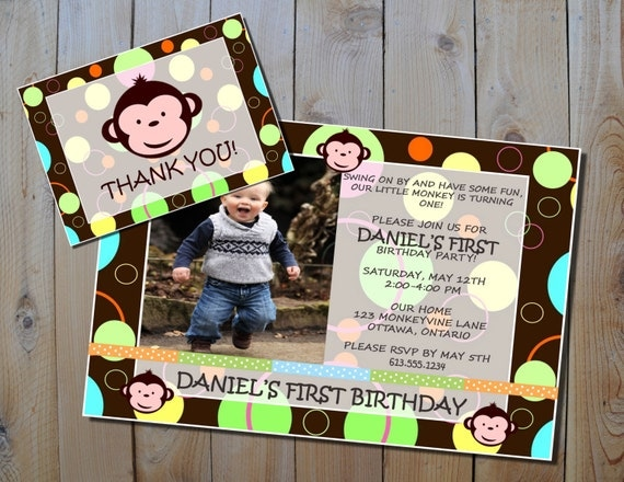 Mod Monkey Birthday Invitation & FREE Thank You Card - Boy's Mod Monkey Printable Party Invitation Set